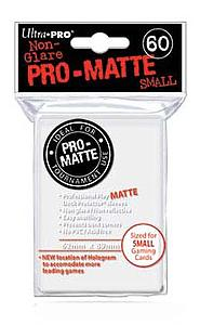 Non-Glare Pro-Matte: White Small Card Sleeves (62mm x 89mm)