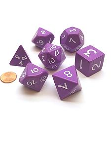 Opaque Jumbo 7-Dice Set: Purple & White