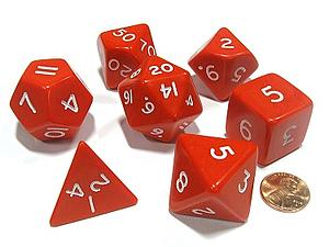 Opaque Jumbo 7-Dice Set: Red & White