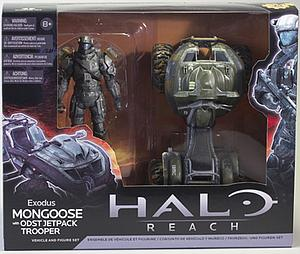 "Halo Reach 6"" Series 2 Vehicle & Figure Set: Exodus Mongoose with ODST Jetpack Trooper"