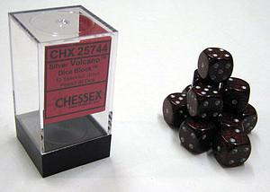 Dice 12D6 Set - Speckled Silver Volcano