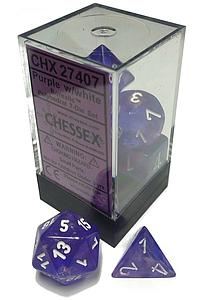 Dice 7-Piece Polyhedral Set - Borealis Purple/white