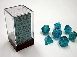 Dice 7-Piece Polyhedral Set - Borealis Teal w/Gold