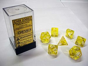Dice 7-Piece Polyhedral Set - Translucent Yellow w/White