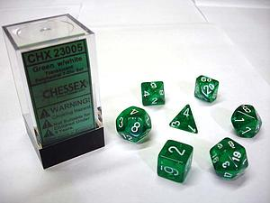 Dice 7-Piece Polyhedral Set - Translucent Green w/White