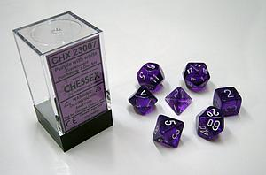 Dice 7-Piece Polyhedral Set - Translucent Purple w/White