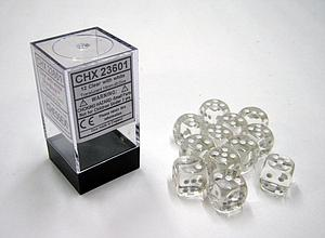 Dice 12D6 Set - Translucent Clear w/White