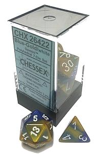 Dice 7-Piece Polyhedral Set - Gemini Blue Gold White
