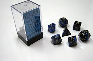Dice 7-Piece Polyhedral Set - Gemini Black Blue Gold
