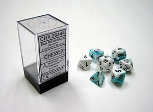 Dice 7-Piece Polyhedral Set - Gemini Teal White Black