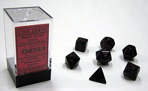 Dice 7-Piece Polyhedral Set - Opaque Black w/Red