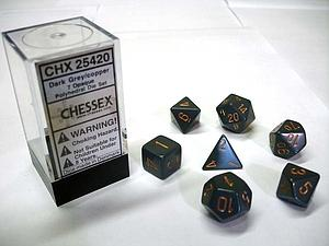 Dice 7-Piece Polyhedral Set - Opaque Dark Grey w/Copper