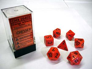 Dice 7-Piece Polyhedral Set - Opaque Orange w/Black