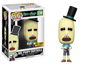 Pop! Animation Rick and Morty Vinyl Figure Mr. Poopy Butthole (Gunshot) #206 Hot Topic Exclusive