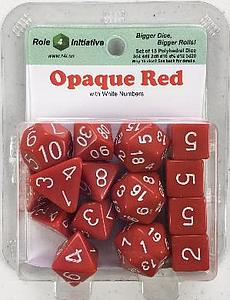 Set of 15 Dice: Opaque Red with White Numbers