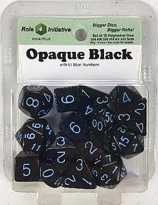 Set of 15 Dice: Opaque Black with Light Blue Numbers