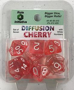 Set of 7 Dice: Diffusion Cherry with White Numbers
