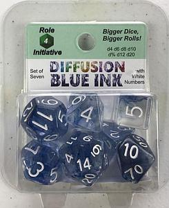 Set of 7 Dice: Diffusion Blue Ink with White Numbers