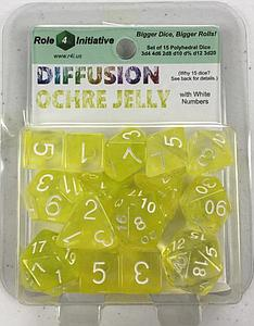 Set of 15 Dice: Diffusion Ochre Jelly with White Numbers
