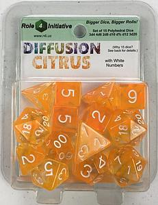 Set of 15 Dice: Diffusion Citrus with White Numbers