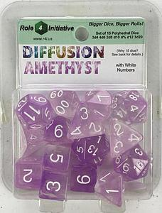 Set of 15 Dice: Diffusion Amethyst with White Numbers