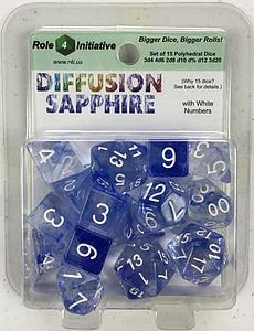 Set of 15 Dice: Diffusion Sapphire with White Numbers