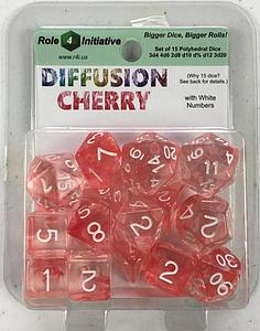 Set of 15 Dice: Diffusion Cherry with White Numbers