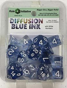 Set of 15 Dice: Diffusion Blue Ink with White Numbers