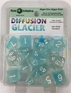 Set of 15 Dice: Diffusion Glacier with White Numbers