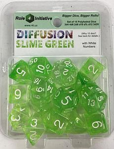 Set of 15 Dice: Diffusion Slime with White NumbersPolyhedral