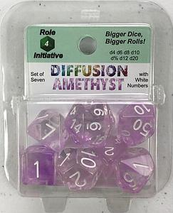 Set of 7 Dice: Diffusion Amethyst with White Numbers