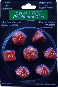 Set of 7 Dice: Opaque Red with Gold Numbers