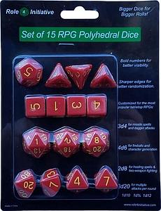 Set of 15 Dice: Opaque Red with Gold Numbers