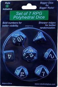 Set of 7 Dice: Opaque Black with White Numbers