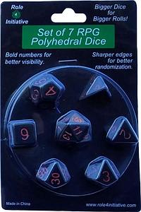 Set of 7 Dice: Opaque Black with Red Numbers