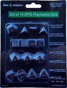 Set of 15 Dice: Opaque Black with Red Numbers