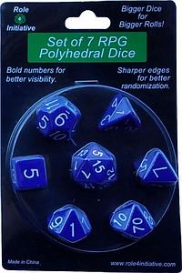 Set of 7 Dice: Opaque Dark Blue with White Numbers