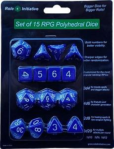 Set of 15 Dice: Opaque Dark Blue with White Numbers