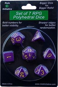 Set of 7 Dice: Opaque Dark Purple with Gold Numbers