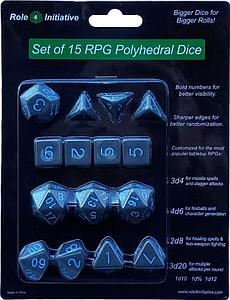 Set of 15 Dice: Opaque Dark Gray with Light Blue Numbers