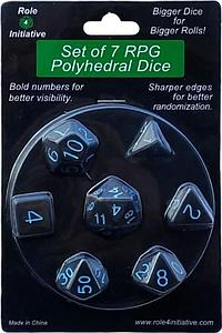 Set of 7 Dice: Translucent Black (Smoke) with Light Blue Numbers