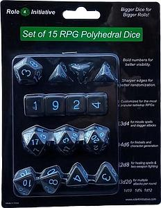 Set of 15 Dice: Translucent Black (Smoke) with Light Blue Numbers