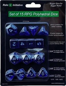 Set of 15 Dice: Translucent Dark Blue with Light Blue Numbers