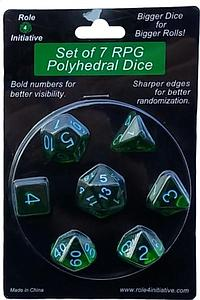 Set of 7 Dice: Translucent Dark Green with Light Blue Numbers