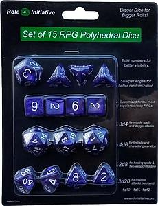 Set of 15 Dice: Marble Purple with White Numbers