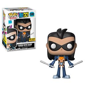 Pop! Television Teen Titans Go! Vinyl Figure Robin (as Nightwing) with Baby #599 Hot Topic Exclusive