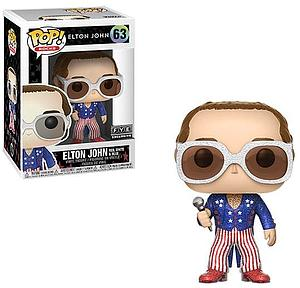Pop! Rocks Vinyl Figure Elton John (Red, White, & Blue) (Glitter) #63 FYE Exclusive