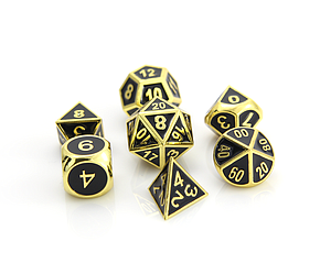 Metal Gothica 7-Dice Set - Shiny Gold with Black