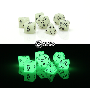 Poly RPG 7-Dice Set: Glow-in-the-Dark White