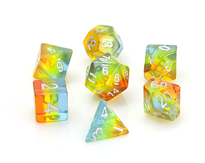 Poly RPG 7-Dice Set: Translucent Sunrise Gradient
